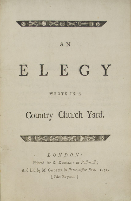 GRAY, Thomas. - Elegy Wrote in a Country Church Yard.