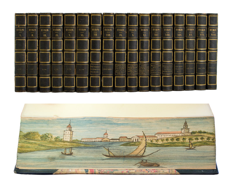 BYRON, George Gordon, Lord. FORE-EDGE PAINTING. - Works of Lord Byron.