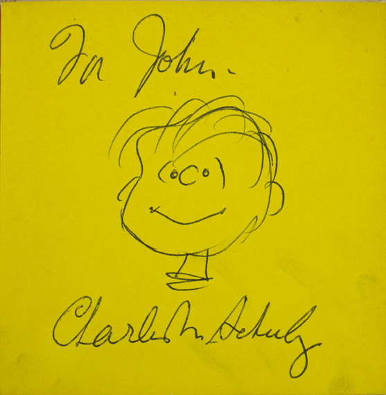 "SCHULZ, Charles M. - Security is a Thumb and a Blanket [with Signed Original Drawing of ""Linus""]."