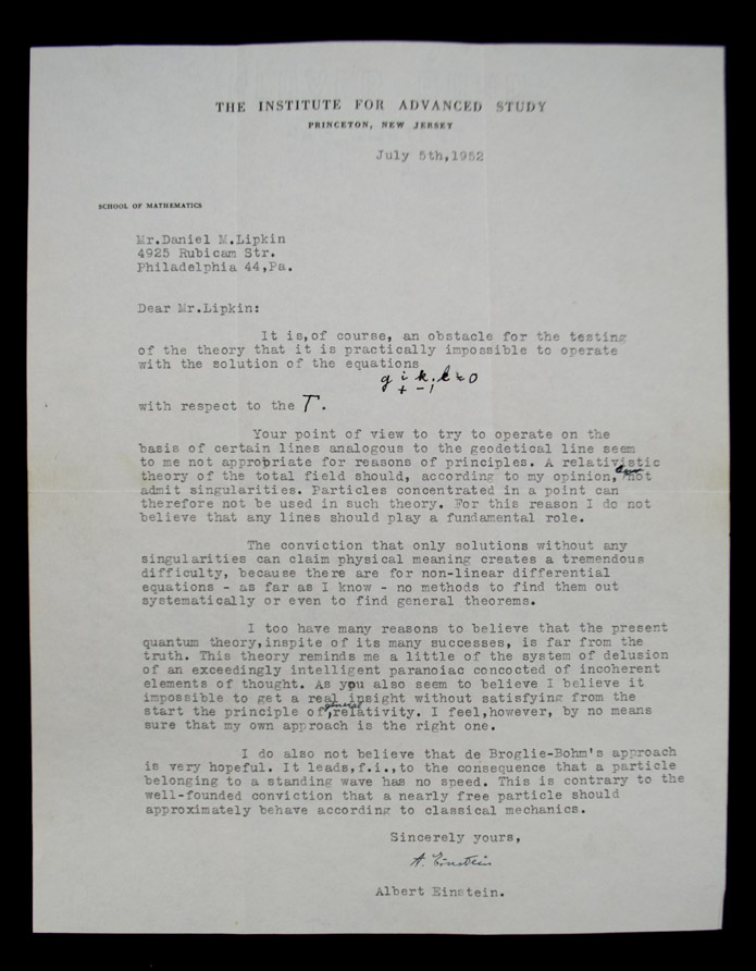 EINSTEIN, Albert. - Typed Letter Signed.